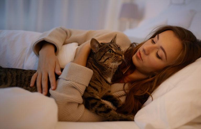 Αγκαλιά με γάτα στο κρεβάτι
